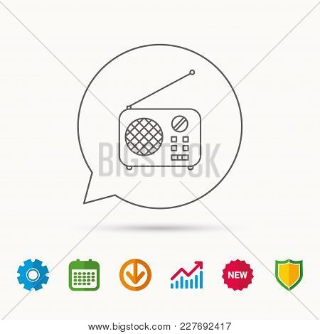 Radio Icon. Retro Musical Receiver Sign. Calendar, Graph Chart And Cogwheel Signs. Download And Shie