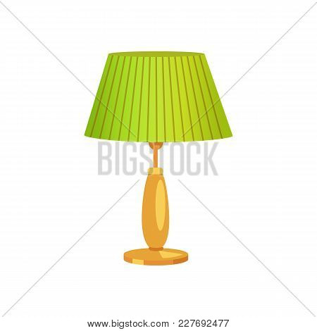 Interior Design, Lampshade Of Green Color, Lamp Of Vintage Type, Illumination At Houses, Object Vect