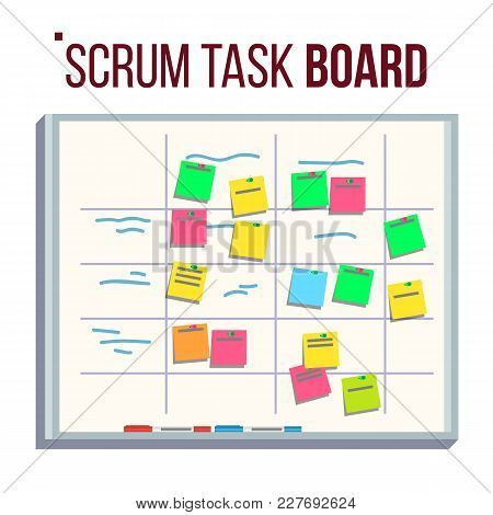 Scrum Board Vector. Board With Post It Notes. For Software Development. Hanging On Office Wall. Mode