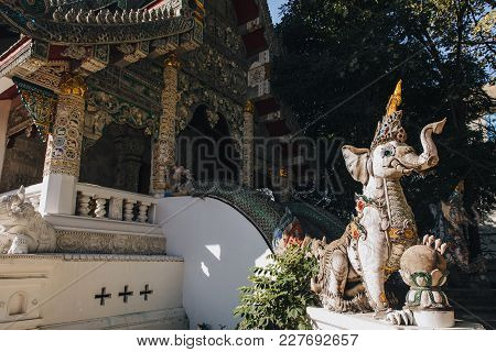 Ancient Statue Outside Of Sacral Temple At Chiang Mai, Thailand