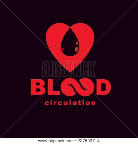 Vector Red Heart With Blood Circulation Inscription. Medical Theme Vector Graphic Symbol.