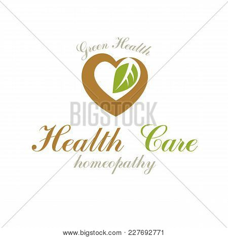 Vector Loving Heart Decorated With Green Leaves. Wellness Center Abstract Modern Logotype Can Be Use