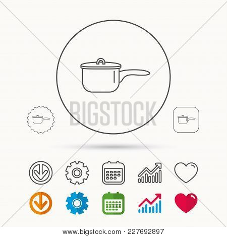 Saucepan Icon. Cooking Pot Or Pan Sign. Calendar, Graph Chart And Cogwheel Signs. Download And Heart