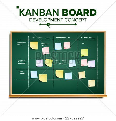 Kanban Board Vector. Sticky Notes. Business Working Process Management. Team Planning Iterations. Re