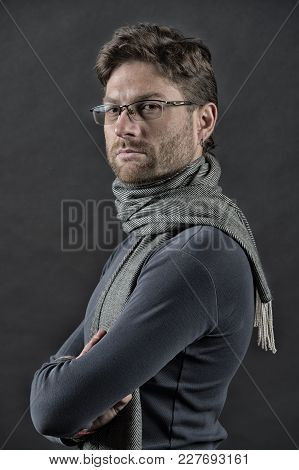Man In Scarf And Sweater With Folded Hands. Eyesight Correction, Eye Care, Health. Businessman In Gl