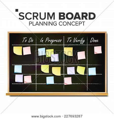 Scrum Task Board Vector. Hanging Scrum Task Board. Startup Development Process. Full Tasks To Do Lis