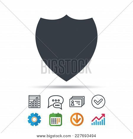 Shield Protection Icon. Defense Equipment Symbol. Statistics Chart, Chat Speech Bubble And Contacts