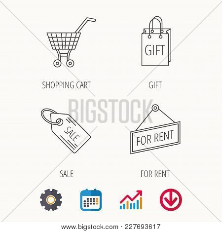 Shopping Cart, Gift Bag And Sale Coupon Icons. For Rent Label Linear Sign. Calendar, Graph Chart And