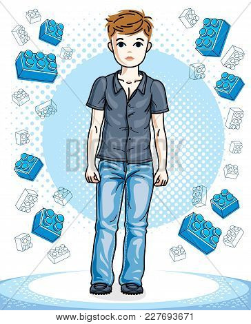 Young Teen Boy Cute Nice Standing Wearing Fashionable Casual Clothes. Vector Attractive Kid Illustra