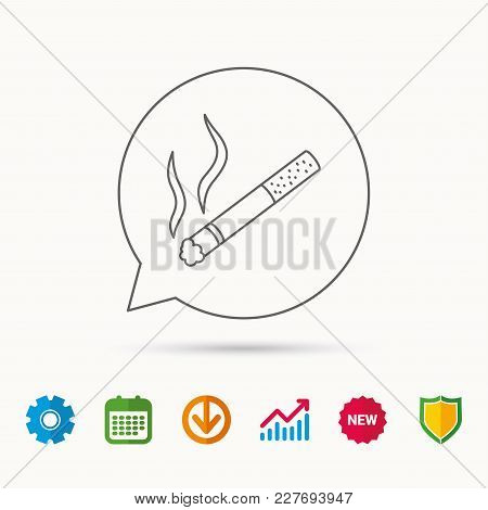 Smoking Allowed Icon. Yes Smoke Sign. Calendar, Graph Chart And Cogwheel Signs. Download And Shield
