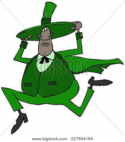 Illustration Of A Black Irish Leprechaun Holding On To His Hat While Running.