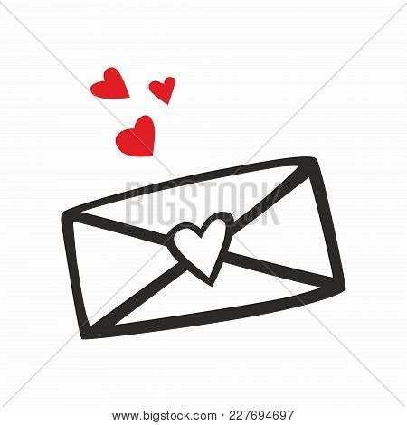 Envelope With A Red Heart On A White Background