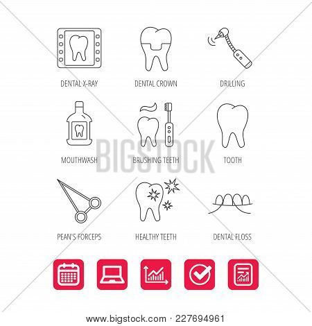 Stomatology, Tooth And Dental Crown Icons. X-ray, Mouthwash And Dental Floss Linear Signs. Toothache