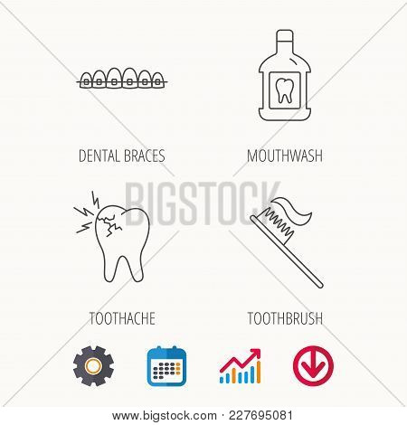 Toothache, Dental Braces And Mouthwash Icons. Toothbrush Linear Sign. Calendar, Graph Chart And Cogw