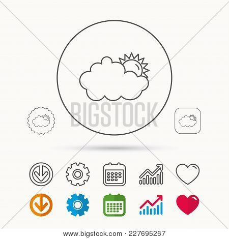 Sunny Day Icon. Summer Sign. Overcast Weather Symbol. Calendar, Graph Chart And Cogwheel Signs. Down