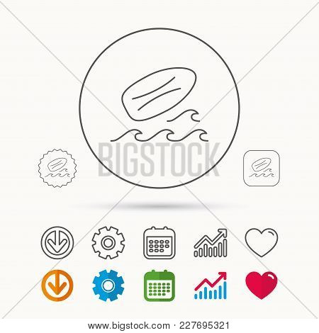 Surfboard Icon. Surfing Waves Sign. Calendar, Graph Chart And Cogwheel Signs. Download And Heart Lov