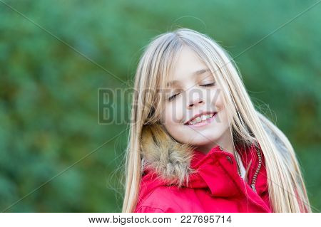 Child With Closed Eyes Enjoy Idyllic Autumn Day. Happy Childhood Concept. Beauty, Nature, Growth. Gi