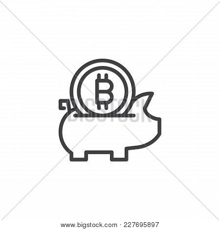 Bitcoin Piggy Bank Outline Icon. Linear Style Sign For Mobile Concept And Web Design. Cryptocurrency