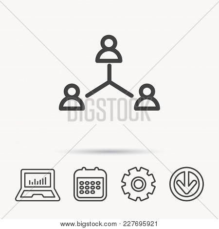 Teamwork Group Icon. Business Community Sign. Corporate Work Symbol. Notebook, Calendar And Cogwheel