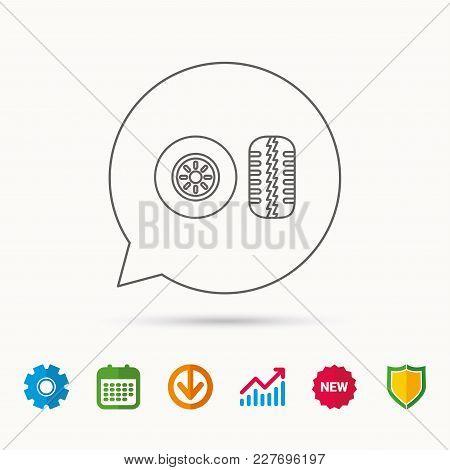 Tire Tread Icon. Car Wheel Sign. Calendar, Graph Chart And Cogwheel Signs. Download And Shield Web I