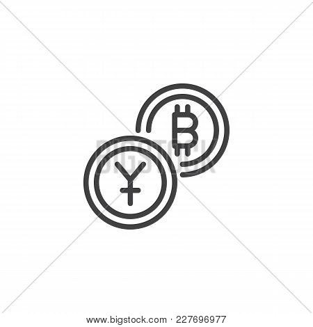 Yuan Exchange To Bitcoin Outline Icon. Linear Style Sign For Mobile Concept And Web Design. Crypto C