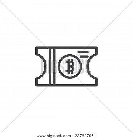 Bitcoin Ticket Outline Icon. Linear Style Sign For Mobile Concept And Web Design. Cryptocurrency Cou