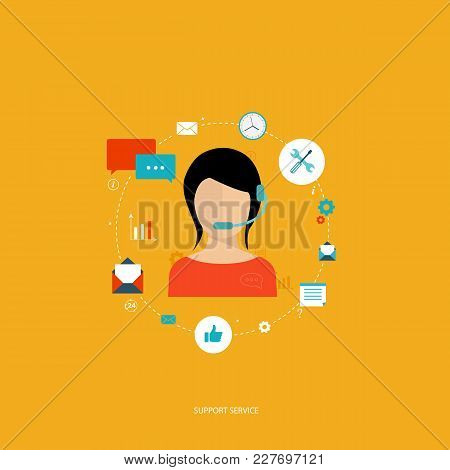 Support Service Concept. Flat Design Vector Illustration With Icons. Technical Support Assistant.