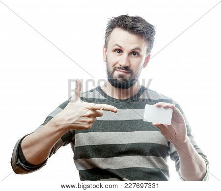 Handsome Man In Gray Striped Blazer With White Blank Card. Isolated On White Background With Clippin
