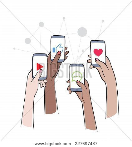 Social Network - Friends Interacting On Social Media Women Using Different Social Platforms. Hands H