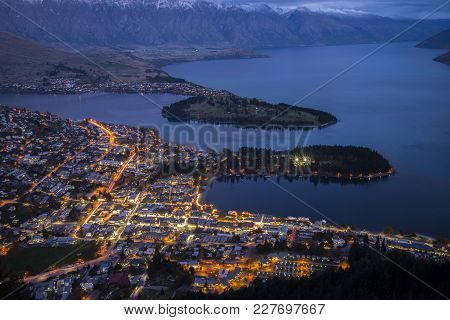 Aerial View Of Queenstown And Lake Wakatipu During Blue Hour Sunset Taken From Skyline Queenstown, O