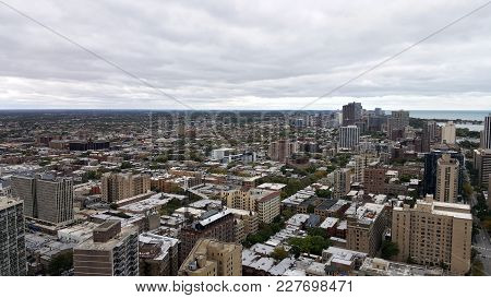 Aerial Elevated View Above Chicago Neighborhoods Lakeview And Ravenswood Looking Northwest