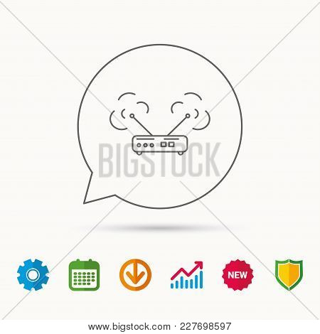 Wi-fi Router Icon. Wifi Wireless Internet Sign. Device With Antenna Symbol. Calendar, Graph Chart An