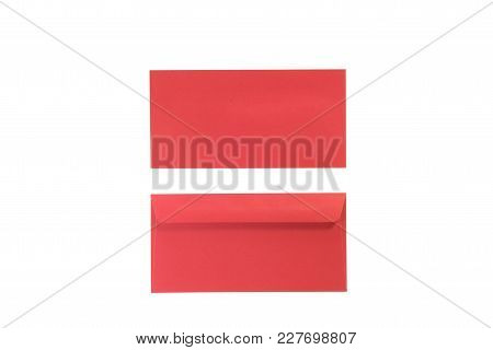 Front And Back Red Envelopes On Isolated White.