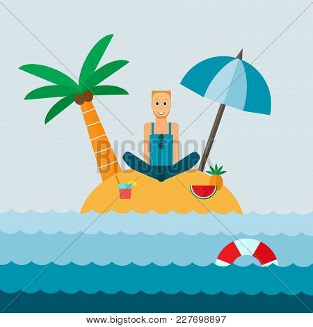 The Man On The Island. Flat Design Vector Illustration.