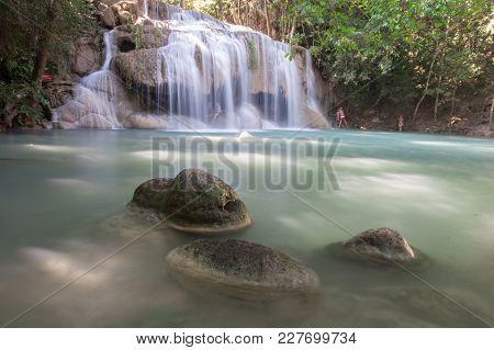 Erawan Waterfall 2nd Level, Erawan National Park In Kanchanaburi, Thailand