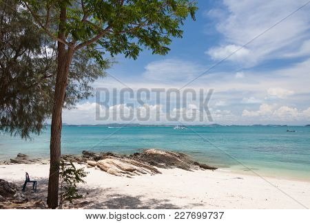 White Sand Beach In Sunny Day At Thailand