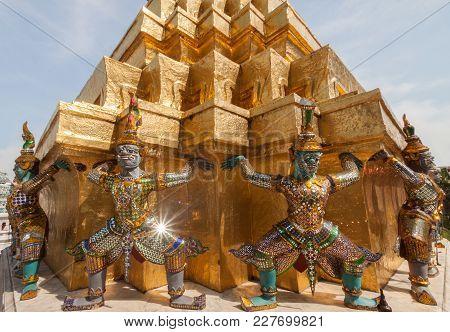 Guardian At Emerald Buddha Temple In Bangkok, Thailand.