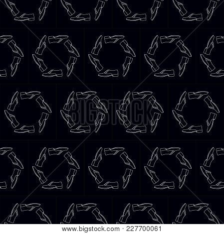Shoes Seamless Round Pattern On Black Background. 3 Male Shoe Patterns. Simple Illustration Of Male