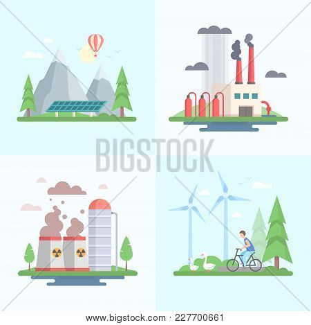 Ecology - Set Of Modern Flat Design Style Vector Illustrations On Blue And White Background. A Colle