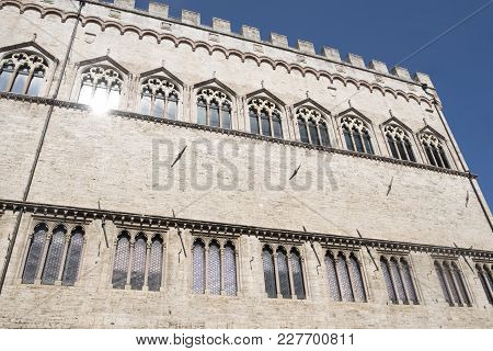 Historic Buildings Of Perugia, Umbria, Italy, At Morning.