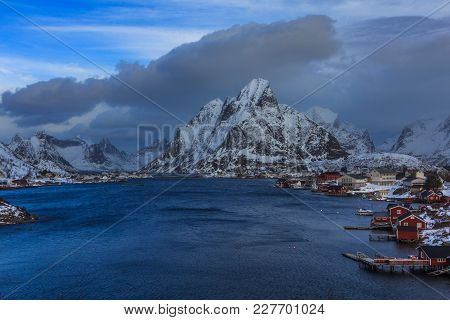 View To Beautiful Fjord On Lofoten Islands In Norway