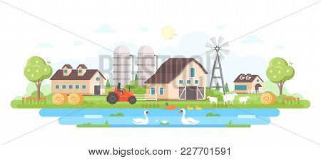 Farm - Modern Flat Design Style Vector Illustration On White Background. A Composition With A Villag