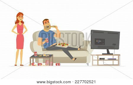 Wife Angry With Husband - Cartoon People Character Isolated Illustration On White Background. An Ima