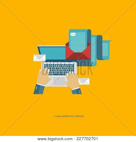 E Mail Marketing Strategy Concept. Flat Vector Illustration.