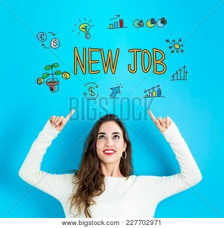 New Job With Young Woman Reaching And Looking Upwards