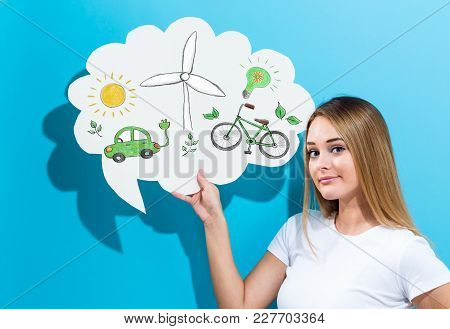 Ecology With Young Woman Holding A Speech Bubble