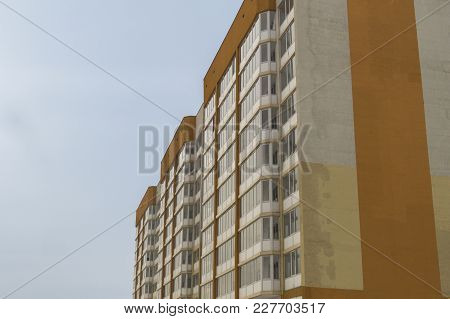Modern Multistory Apartment Building. Contemporary Architecture. Building Fragment. Apartment Block.