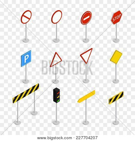 Isometric Road Signs Isolated On Checkered Background. Vector Illustration Template.