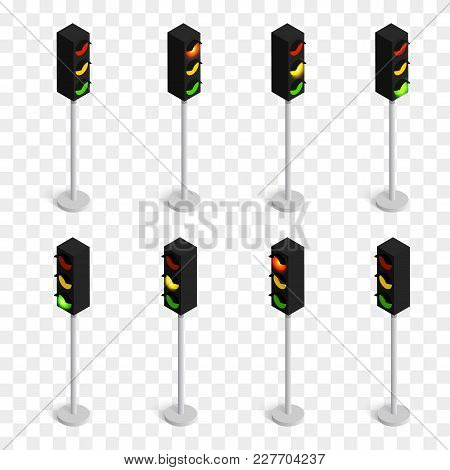 Set Of Isometric Vector Traffic Lights Isolated On Checkered Background.