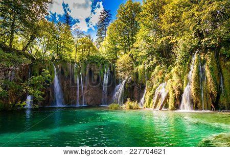 Big Waterfalls In Plitvice Lakes National Park, Croatia